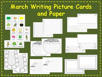 March Writing Picture Cards and Paper Writing Center