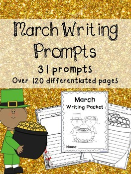 March Writing Prompts on Themed Paper