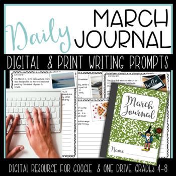 March Writing Journal {Google Classroom & One Drive} Digital Resource