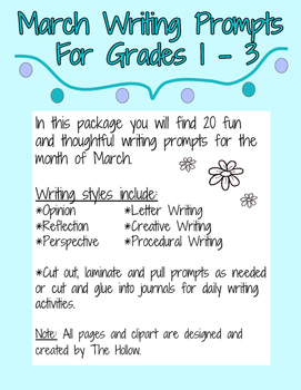 March Writing Prompts Grades 1, 2, 3