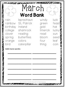 Spring Writing Prompts - March Journal K-3