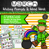 March Writing Prompts and Word Work Cards for Word Wall