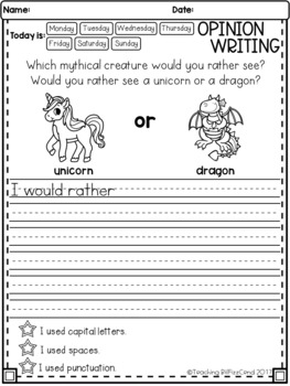 March Writing Prompts : Opinion Writing & Picture Prompts