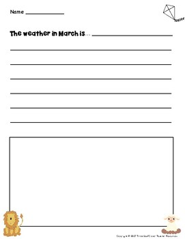 March Writing Prompts with Vocabulary Cards – Great for ESL/ENL
