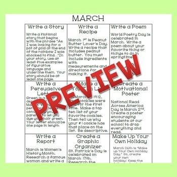 March Writing Tic Tac Toe Choice Board