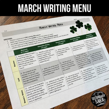 March Writing for Teens: Choice Menu with 40 Prompts and More