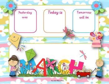 March calendar flash cards