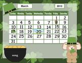 March calendar for kindergarten
