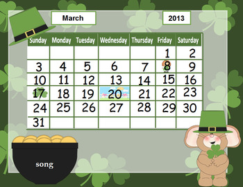 March calendar for kindergarten