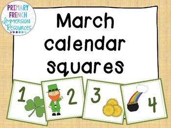 March calendar squares