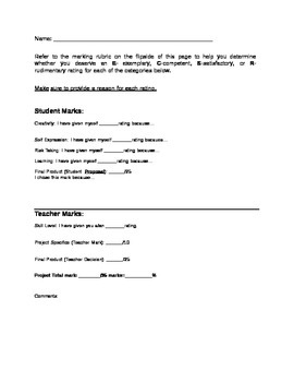 March for Peace Marking Sheet