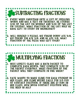 March fraction review task cards