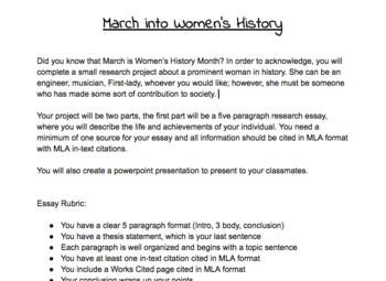 March into Women's History Essay and Organizer