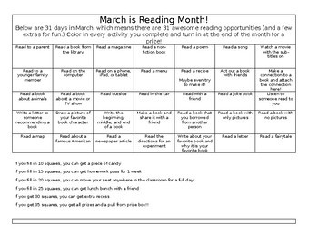 March is Reading Month English and Spanish