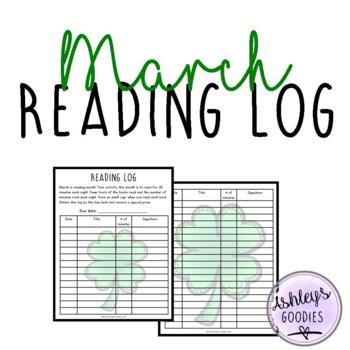 March is Reading Month Reading Log plus activity!