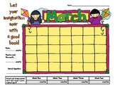 March is Reading Month Spring Reading Goals Calendar