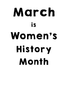 March is Women's History Month Project
