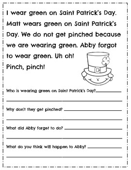 March l St. Patrick's Day l Reading Comprehension Passages & Questions l Spring