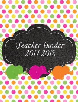 March of the Colorful Elephants Teacher Binder Polka Dots