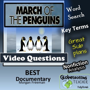 Movie Guide-March Of The Penguins Questions, Vocab and Word Search