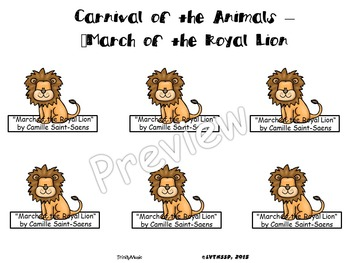 March of the Royal Lion from Carnival of the Animals (Finger Puppets)