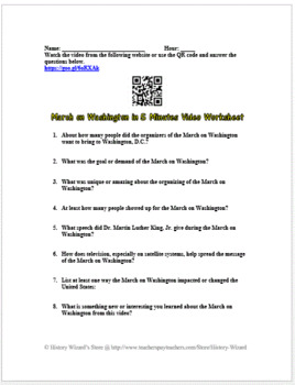 March on Washington in Five Minutes Video Worksheet