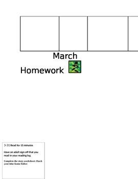 March reading and math homework calendar