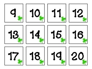 March (shamrocks) Calendar title and numbers