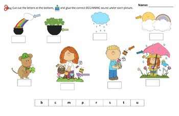March themed Beginning Sounds Cut n Paste