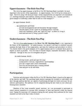 Marching Band Handbook - Editable in Word