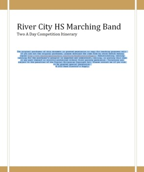 Marching Band Itinerary - Sample Two Contests in one day w/Student Instructions