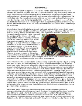 Middle Ages: Marco Polo and the Silk Road