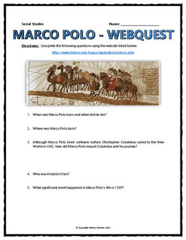 marco polo age of exploration webquest with key by. Black Bedroom Furniture Sets. Home Design Ideas