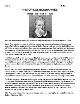 Marco Polo Biography Article and (3) Assignments