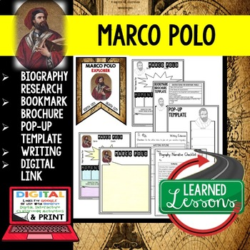Marco Polo Biography Research, Bookmark Brochure, Pop-Up Writing Google