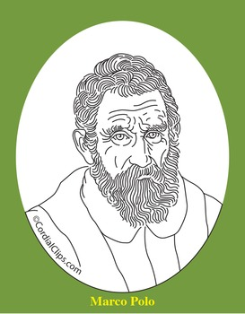 Marco Polo Clip Art, Coloring Page, or Mini-Poster