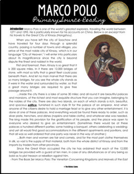 Marco Polo Primary Source Reading