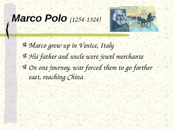 Marco Polo and others trade and explore in Europe, Songhai, and China