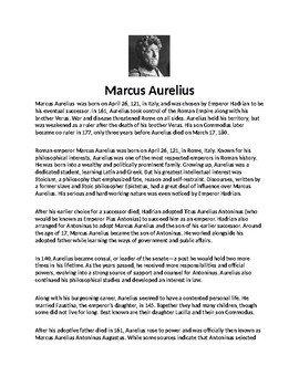 Marcus Aurelius Biography Article and Assignment