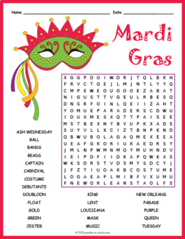 Mardi Gras Word Search Puzzle By Puzzles To Print