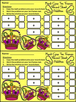Mardi Gras Ten Frames: Mardi Gras Crowns Ten Frames Math Center Activity