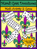 Mardi Gras Activities: Mardi Gras Dominoes Math Game Bundle - Color&BW