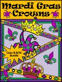 Mardi Gras Activities: Mardi Gras Jester's Hat & Crown Craft Bundle - Color&BW
