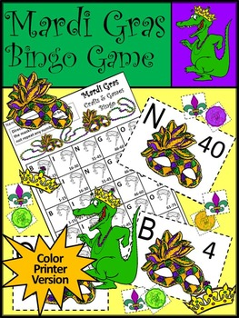 Mardi Gras Game Activities: Mardi Gras Bingo Game Activity Packet