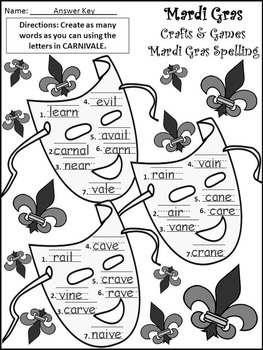 Mardi Gras Activities: Mardi Gras Crafts & Games Activity Packet