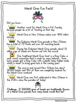 Mardi Gras Activities 4th, 5th and 6th grades