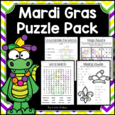 Mardi Gras Activities - Math & Literacy Puzzles | Early Finishers