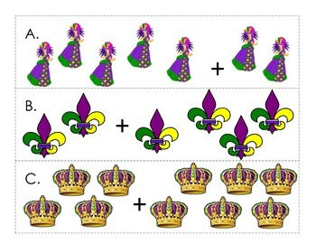 Mardi Gras Addition Write the Room - Kindergarten/First Grade