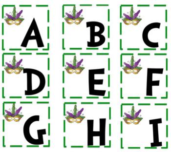 Mardi Gras Alphabet and Number Cards