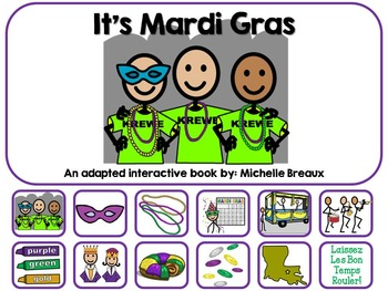 Mardi Gras-An Adapted Interactive Book {SLP, Autism, Speci